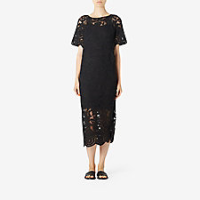 EMBROIDERED LACE APPLIQUÉ DRESS