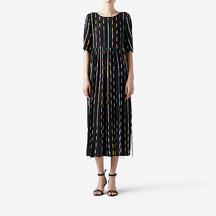 BEADED MULTICOLOR STRIPE DRESS