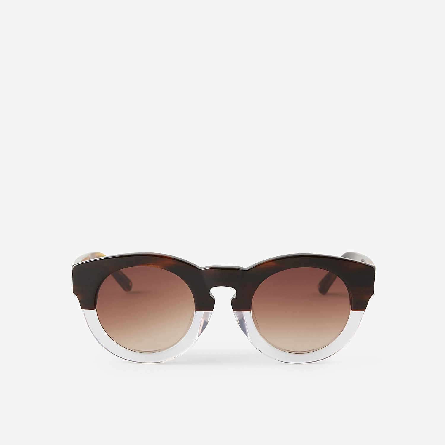 TWO TONE UNIQUE ANGULAR KEYHOLE SUNGLASSES