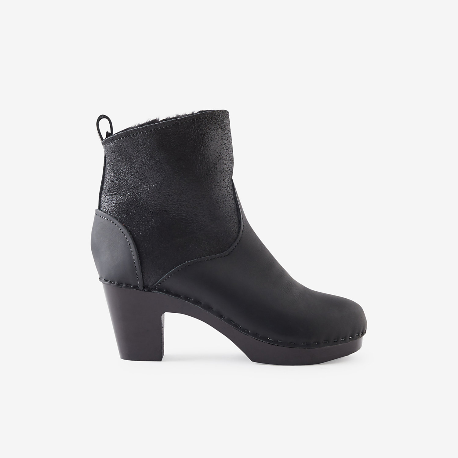 HIGH-HEEL PULL-ON SHEARLING CLOG BOOT