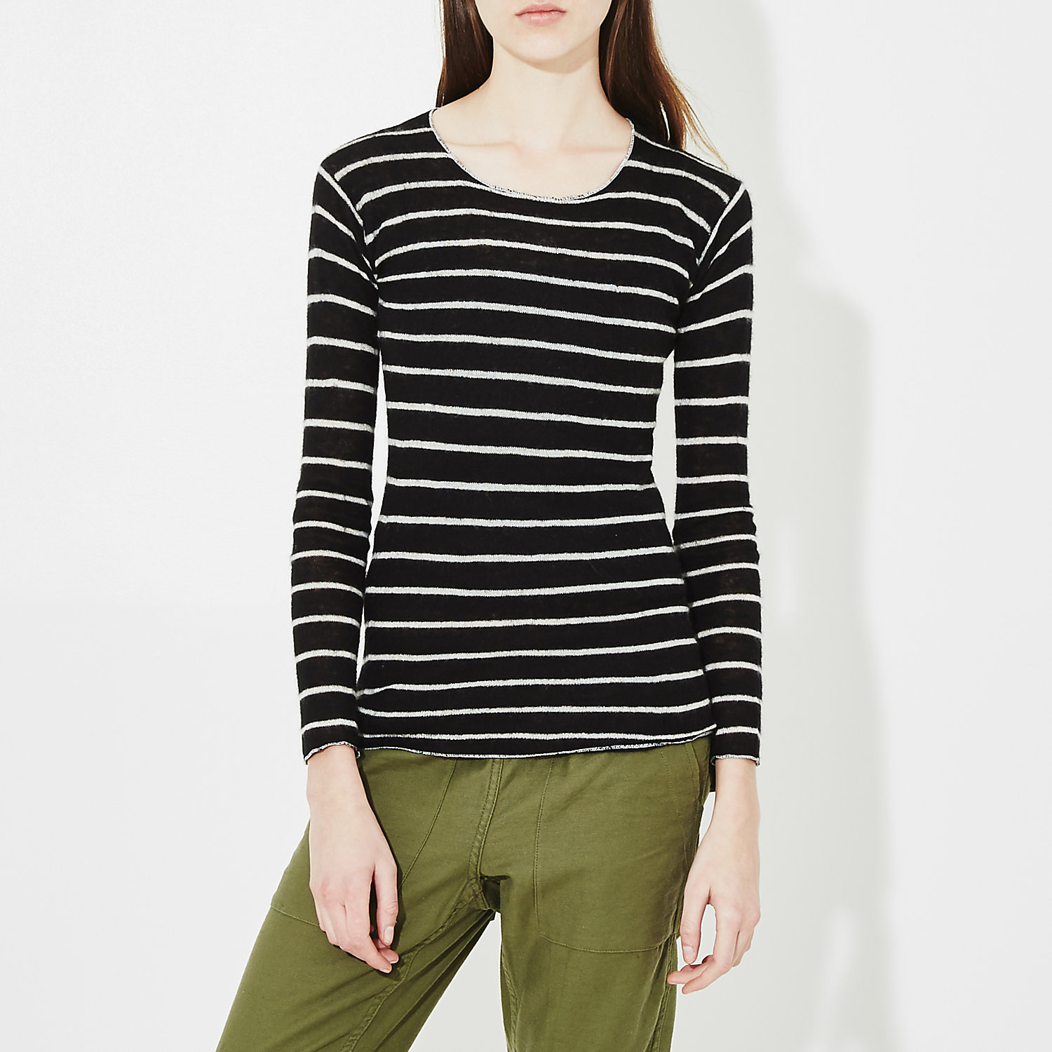 STRIPED CASHMERE TEE