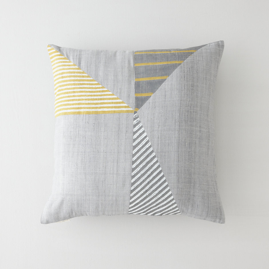 HANDBLOCKED STRIPE PILLOW COVER - GOLDEN GATE