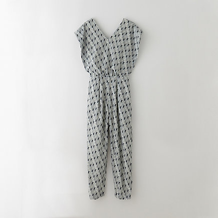 TEXTURED SHIRRING JUMPSUIT
