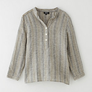 GINA STRIPED LINEN BLOUSE