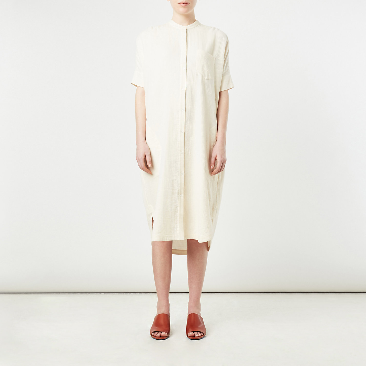 OVERSIZED STAND COLLAR DRESS