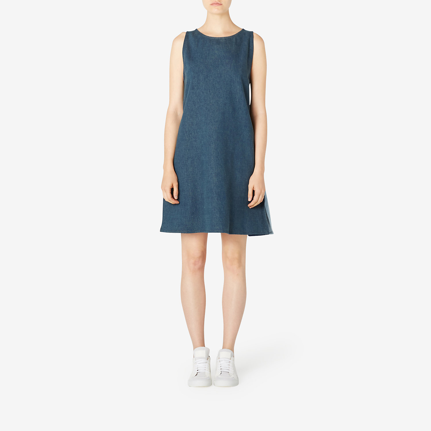 DENIM COMBO SHIFT DRESS