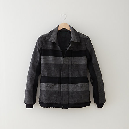 WOOL STRIPED BOMBER JACKET