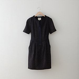 PIPED JERSEY ZIP DRESS