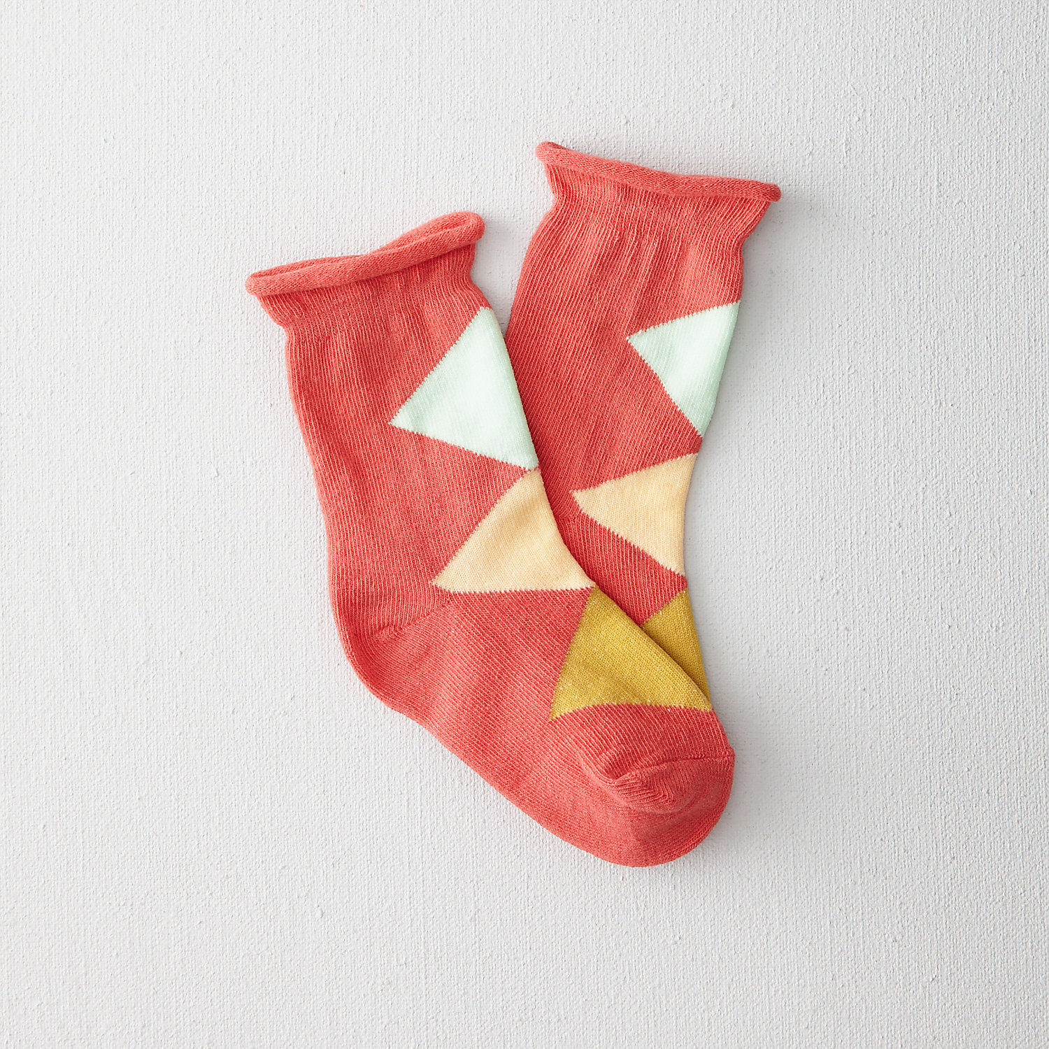 KIDS ARGYLE ROLL TOP CREW SOCK