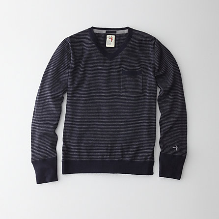 STRIPE MERINO V NECK SWEATER