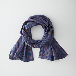 MODIFIED HERRINGBONE STRIPE SCARF - BLUE
