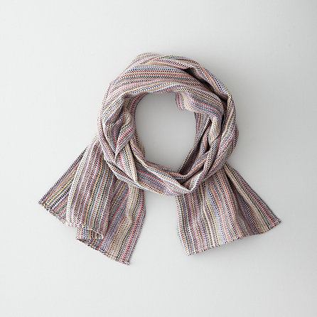 MODIFIED HERRINGBONE STRIPE SCARF - WHITE