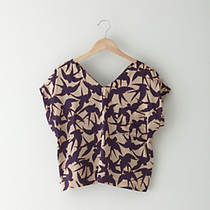 BIRD PRINT POCKET TOP