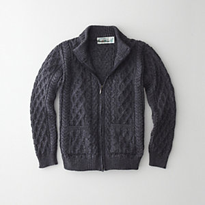 MERINO HIGH COLLAR ZIP CARDIGAN