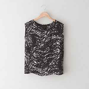 Sleeveless Abstract Print Tee