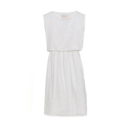White Voile Embroidery Dress