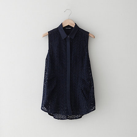 ANYMORE EYELET TOP