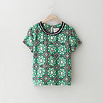 KNITTED COLLAR BATIK LACE TEE