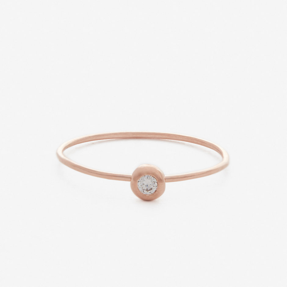 WHITE DIAMOND SEED RING - ROSE GOLD