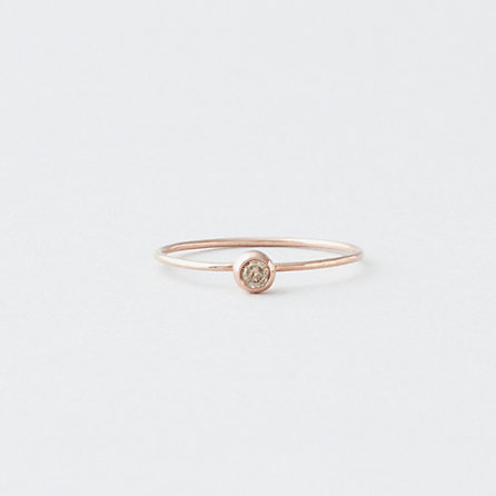 14K Rose Seed Ring - WHITE DIAMOND
