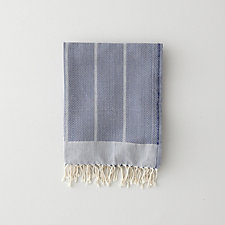 NAVY HERRINGBONE GUEST TOWEL