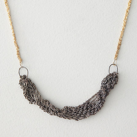 GOLD CHAIN WITH OXIDIZED SILVER PENDANT