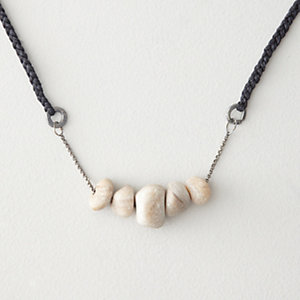 WHITE ONYX ON OXIDIZED SILVER AND BLACK SILK CHAIN