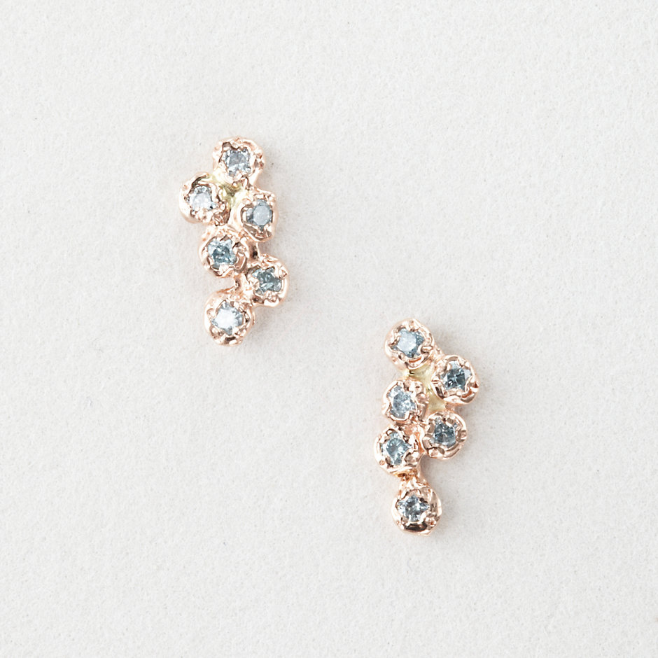 12 BLUE DIAMOND CLUSTER EARRINGS