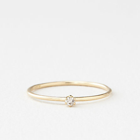 TINY BROWN DIAMOND SOLITAIRE RING