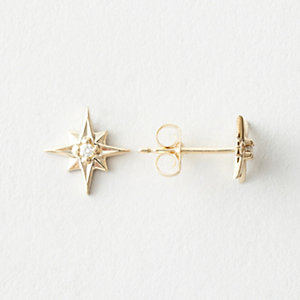 North Star Earrings with Diamond