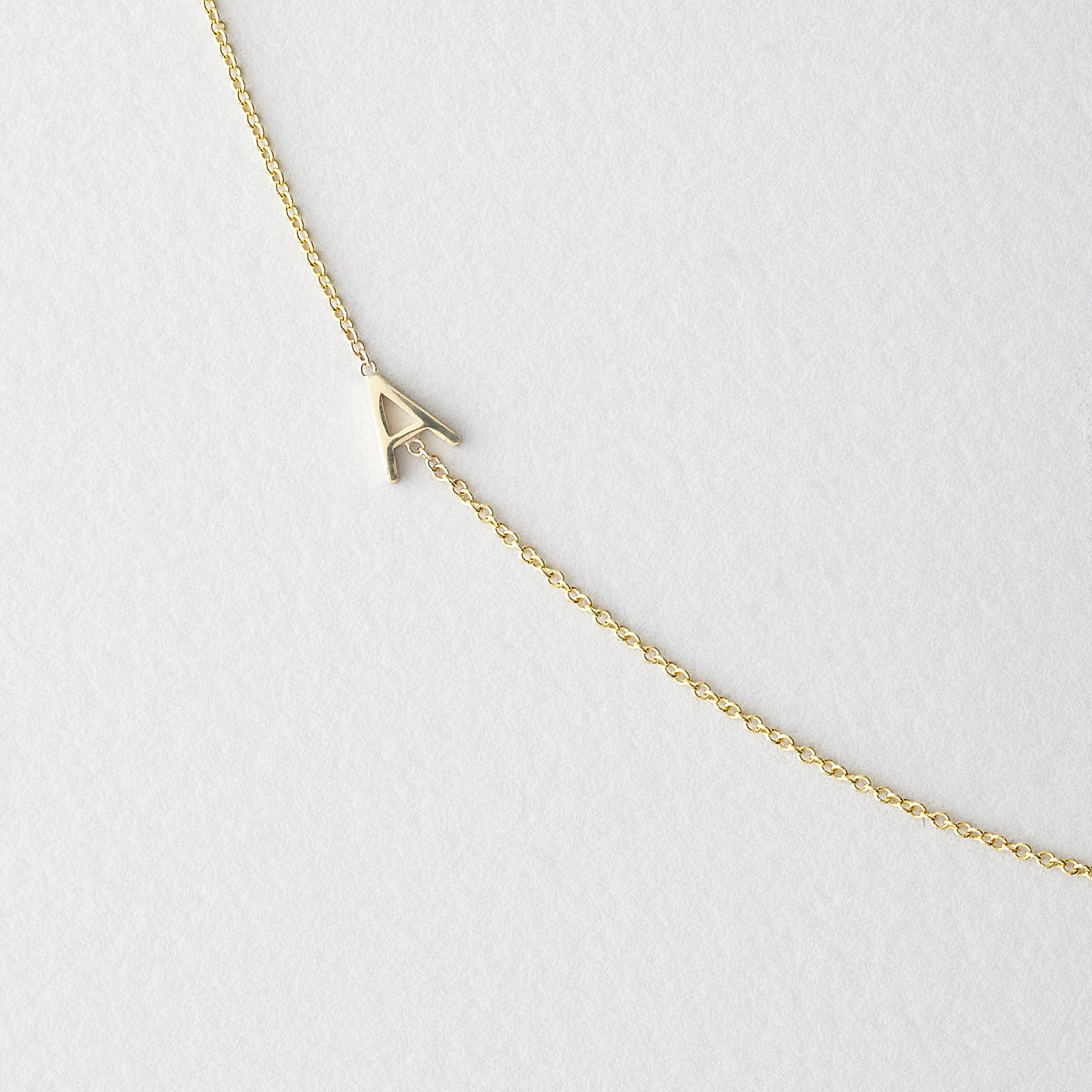 Asymmetrical Mini Letter Necklace - A