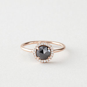 ROSECUT PAVE DIAMOND SOLITAIRE RING