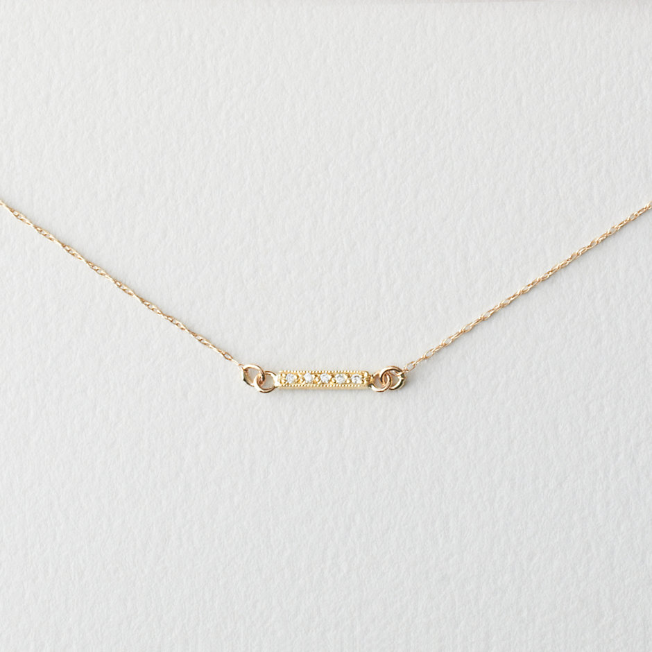 Dainty Diamond Bar Necklace