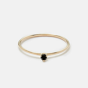 TINY SOLITAIRE RING WITH BLACK DIAMOND