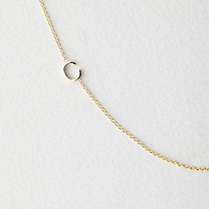 Asymmetrical Mini Letter Necklace - C