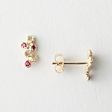 12 Diamond & Ruby Cluster Earrings