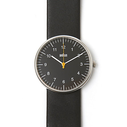 Analog Black Leather Band Watch