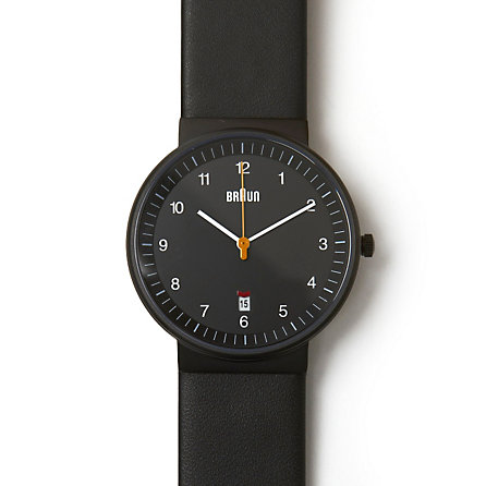 Black Analog Watch w/ Leather Band