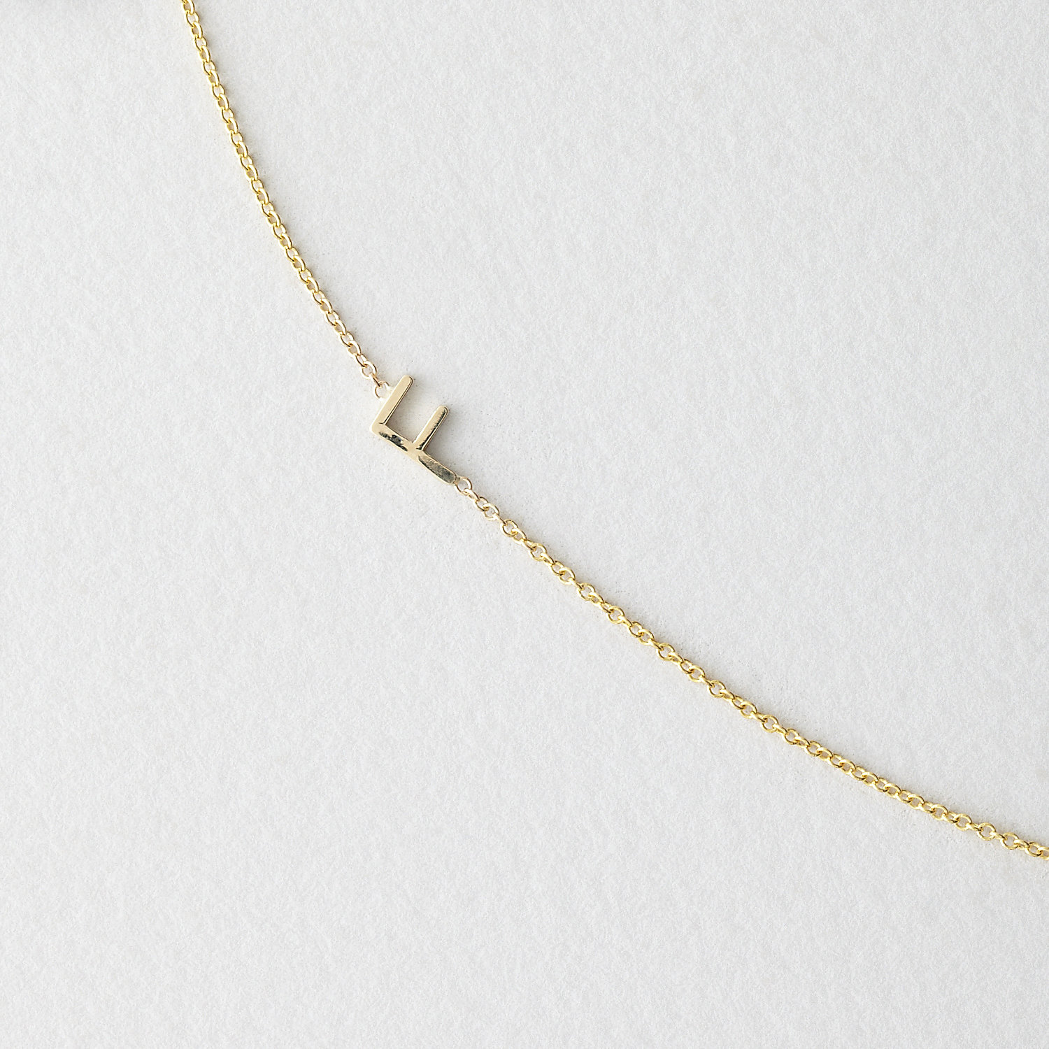 Asymmetrical Mini Letter Necklace - F