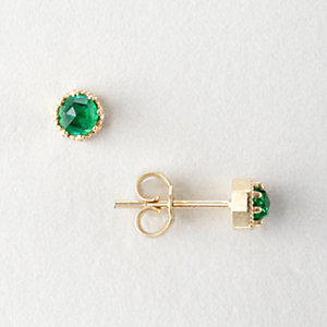 PETITE CROWN BEZEL EMERALD EARRINGS