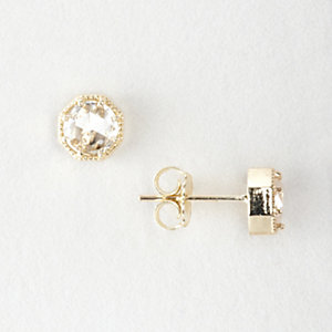 CROWN BEZEL DIAMOND EARRINGS
