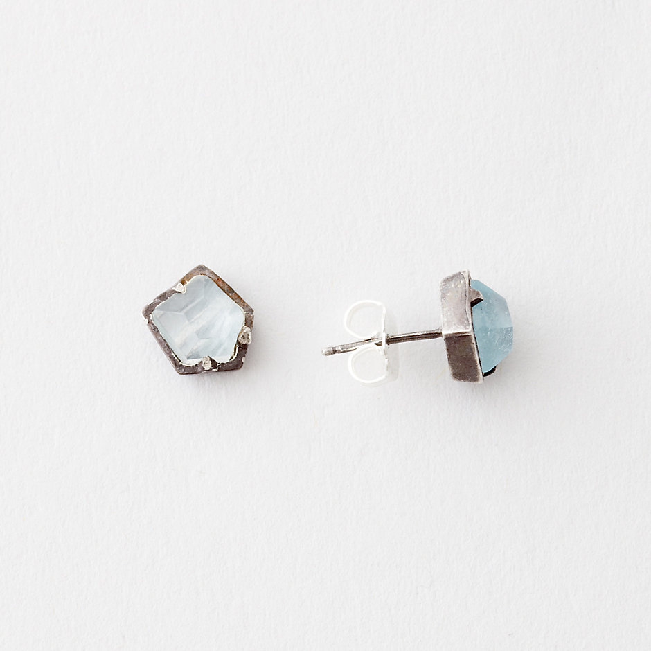 AQUAMARINE HEXAGON STUDS