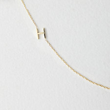 Asymmetrical Mini Letter Necklace - H