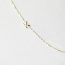 Asymmetrical Mini Letter Necklace - K