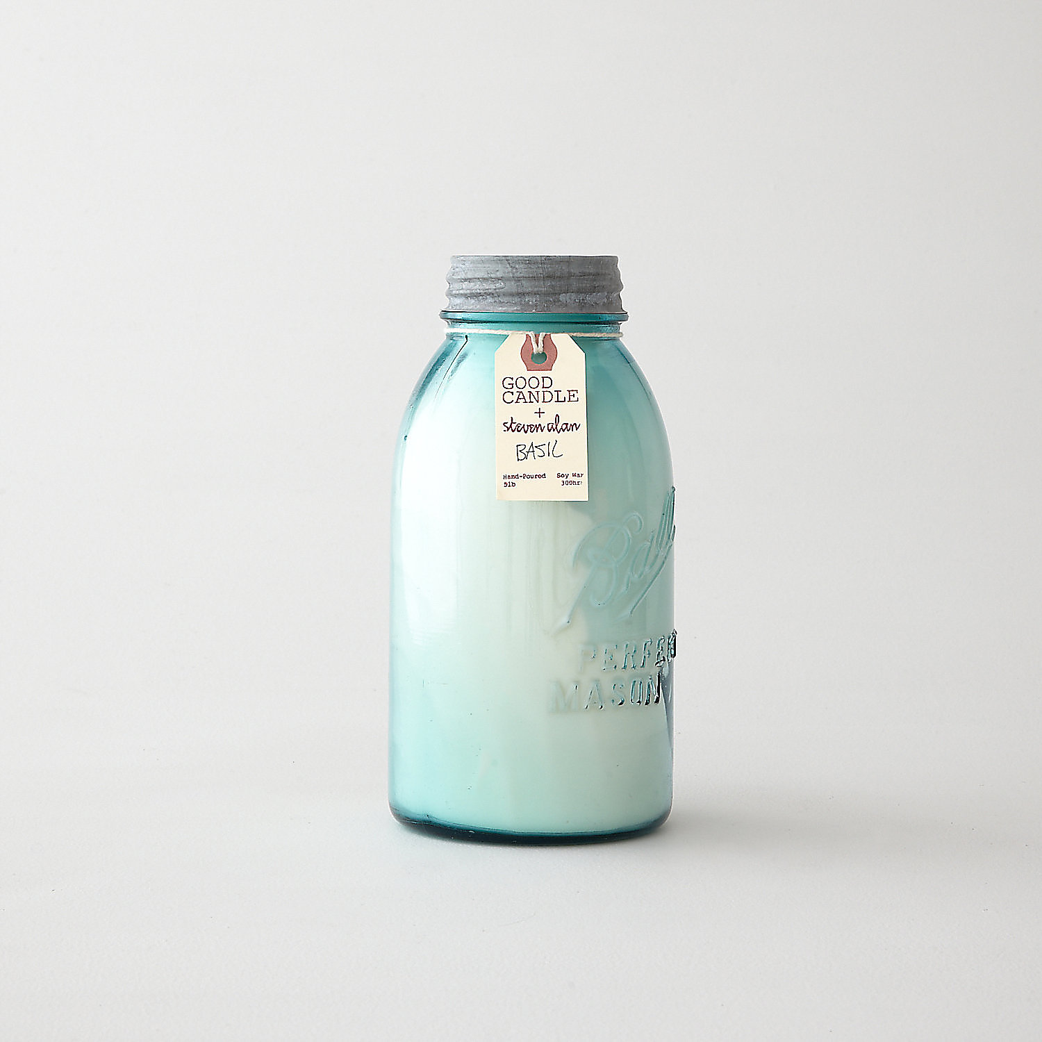 LARGE BLUE MASON JAR CANDLE - BASIL