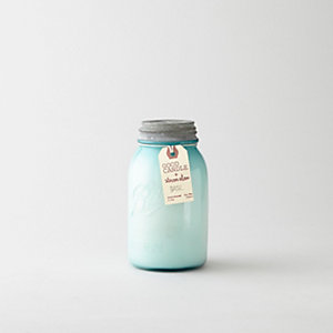 MEDIUM BLUE MASON JAR CANDLE - BASIL