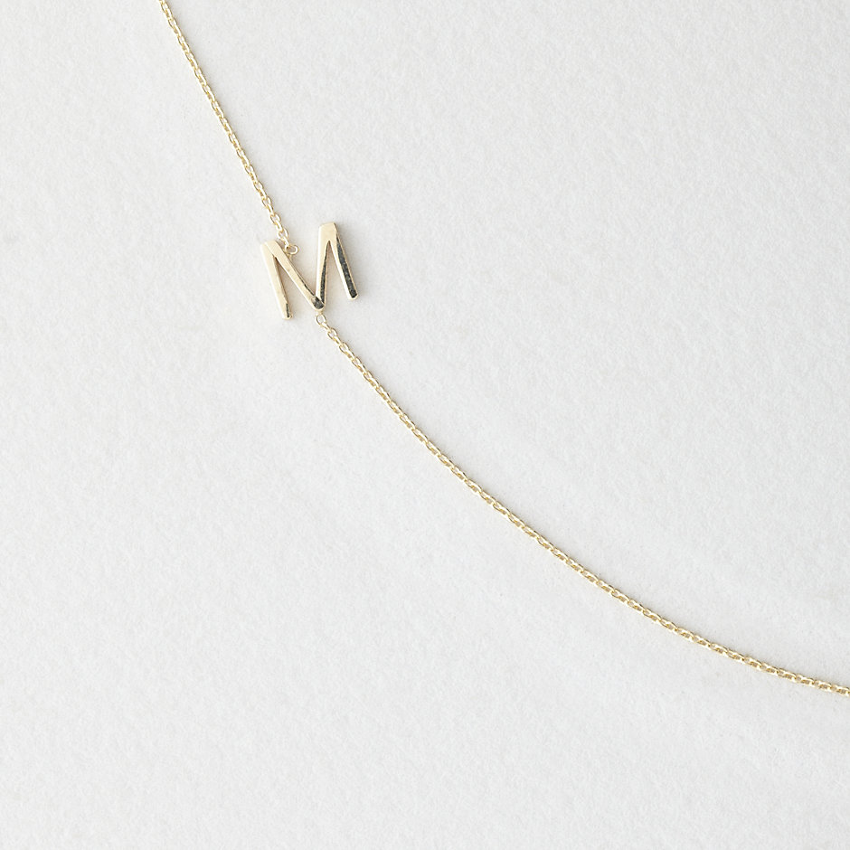 Asymmetrical Mini Letter Necklace - M