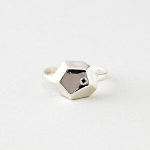 PYRITE RING WITH DIAMOND