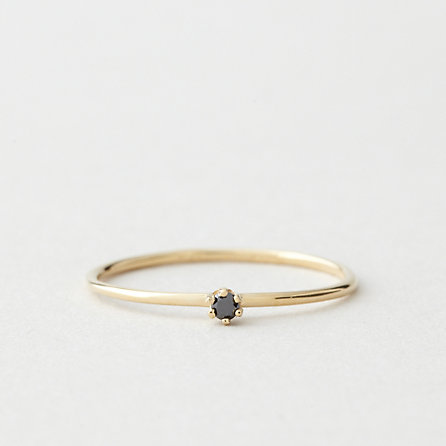 Tiny Black Diamond Solitaire Ring