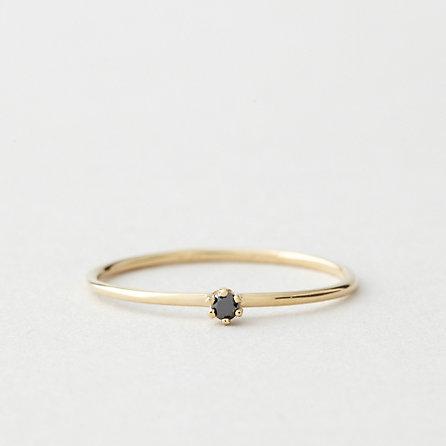 Tiny Black Diamond Solitaire Ring